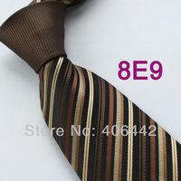Coachella Men's ties Brown Knot Contrast Black Tan Stripes Normal Woven Necktie Formal Neck tie for Men dress shirts Wedding