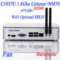 wholesale barebone pc with celeron C1037U CPU dual core 1.8Ghz HD Graphic card included PXE boot HDMI 6*USB mini pcie msata
