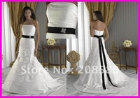 Elegant black and white A-line square neck taffeta bridal wedding dresses W538zarabridal