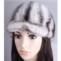 2014 New Fashion Women's Real Mink Fur Cap Winter Hat Women's Fur Hat Adjustable Free Shipping ZX0007