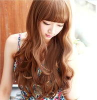 Female wig long roll girls fluffy wig long curly hair wig female pear