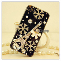 Hot ! Luxury Handmade 3D Eiffel Tower diamond case for iphone 4,4s, snowflake bling rhinestone case for iphone 4s+Free Shipping