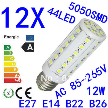 12X High power E27 E14 B22 E26 5050SMD  44LED  12W light 85-265V Energy Saving Corn Light Lamp Bulb