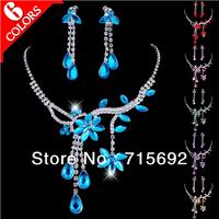 Luxury Flower Necklace Sets Leaf Necklace Drop Earrings Big Crystal Stone Bridal Weddings Sets 6 Color 26972
