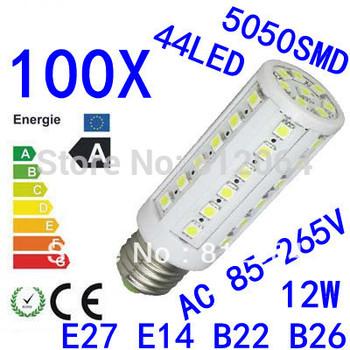 100X High power E27 E14 B22 E26 5050SMD  44LED  12W light 85-265V Energy Saving Corn Light Lamp Bulb