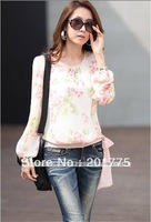 Fashion Women's Chiffon Dress flowers lantern sleeves tie Korean version loose chiffon shirt chiffon blouse #76010