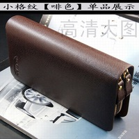 Male big capacity double zipper bag men's long design wallet cowhide day clutch mobile phone bag S86
