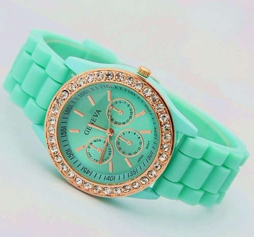 2013 Hot Sell! luxury Fashion Goods Lady Brand GENEVA Rose Gold Diamond Quartz Silicone Jelly Watches,Free Shipping Dropshipping(China (Mainland))