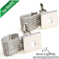 (Min.order is $10 ) Wedding Silver Chain White crystal cufflinks AG6663 - Free shipping!