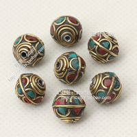 Min.order $10 Free shipping  Nepal handmade beads copper beads bead turquoise diy accessories tibetan style beads material