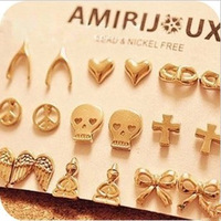 Promotion! Wholesale! Fashion lady women jewelry all-match vintage alloy wishing stud earring  (Can Mix Different Styles) ER120