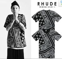 2013 Men new fashion summer brand designer La rhude bandana ktz west coast flowers cashew HARAJUKU short sleeve tshirts tops tee