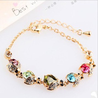 Min.order is $15 (mix order)2013 Artificial crystal beatles charm bracelets for women,Gold plated bracelets and bangles,H116