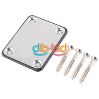Chrome Guitar Neck Plate Chrome With One Rubbermat Stratocaster Telecaster