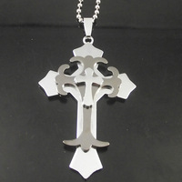 10pcs Free Shipping  Tri-Cross Necklace Fashion rhinestone cross Jewelry Stainless Steel Cross chain Wholesale
