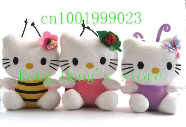Free shipping wholesale 3pcs hello kitty bee/butterfly/ladybug doll soft Toy Stuffed & Plush Plush Toys(China (Mainland))