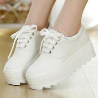 Summer hot-selling school style candy color Ladies Sneakers Low for shoes retro canvas lace-up thick-soled casual shoes sk2410
