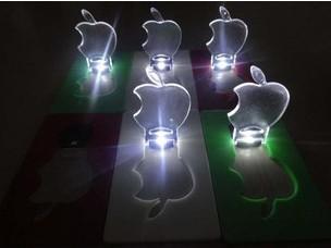 Promotion !  New Arrival Mini LED Credit Card Light Cerative Card lamp Pocket LED Light Novelty Lighting  APPLE  led light
