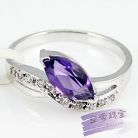 Silver platinum natural amethyst ring classic fashion elegant