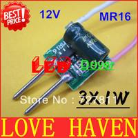 10pcs 3X1W LED 12V MR16 driver, 3*1W for MR16 lamp cup drive 3pcs 1W LED high power lamp bead, 3W MR16, Free shipping!