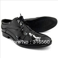 Best Selling!!2013 New arrival men's lace-up leather patchwork business shoes black casual oxfords shoes Free Shipping