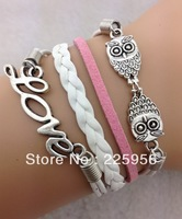 Free Shipping!12pcs/lot!Handwork White Color Leather Cord LOVE Owl Bracelet Trendy Girl Dance Costume Leisure Jewelry C-623