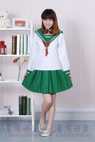 Inuyasha Higurashi Kagome Sailor Suit Cosplay Costume - White+Green  COS  Suit Clothes Free Shipping