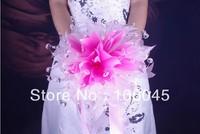 HK Post Free shipping 2013 acrylic crystal girl flower wedding bouquet bridal faux pearl teardrop stunning bead sparking