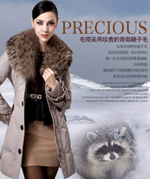 High quality luxurious and noble slim medium-long women's large fur collar down coat