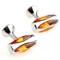 skull cuff links Romance Orange Crystal Round Cufflinks
