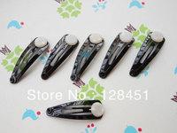 free shipping SALE--Bobby Pin--100pcs---Black Hair Snap Clip With Flat Pad