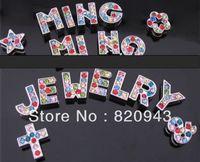 260pcs 8mm A-Z mix color rhinestone Slide letters