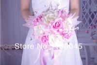 HK Post Free shipping 2013 acrylic crystal girl rose flower wedding bouquet bridal faux pearl teardrop stunning bead sparking
