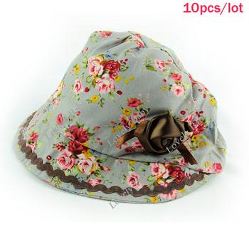 Wholesale 10pcs/lot Princess Baby Girls Hat Cute Infant Cap Rose Floral Caps Girl Petal White/Gray Drop shipping 9594