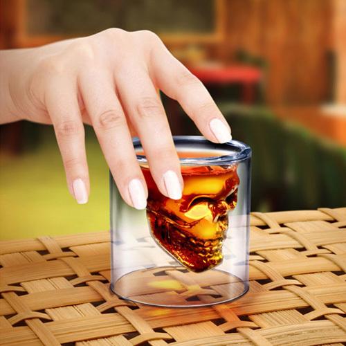 4pcs Condenado Crystal Skull Cabeça Whiskey Vodka cocktail artístico Shot Glass beber Copa Beber Ware Bar(China (Mainland))