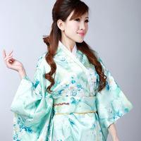 Japanese tradition style Women's Free Green Pure Silk fabric vintage Dress Kimono Kaftan yukata As Nightwear#H0047 free shipping