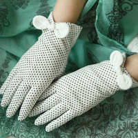 Summer lace uv sunscreen anti-uv slip-resistant 100% breathable cotton gloves five fingers