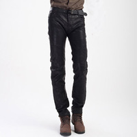 Fashionable casual autumn and winter male leather pants black tights all-match PU soft surface artificial leather
