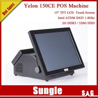 """Restaurants Hotel Supermarket 15"""" Touch Screen POS System Intel D425 CPU 2GB DDR3 320GB HDD POS Machine DHL Free Shipping"""