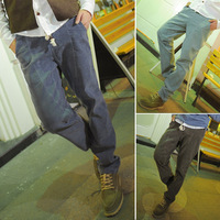 B58 autumn and winter fashion all-match ultra high men water wash male strap low-rise corduroy pants