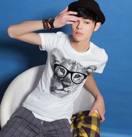 Three-color fashion with glasses leopard head short-sleeve T-shirt k79p25