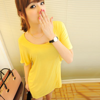 2013 New Women's long design t-shirt,modal loose T-shirt with large pocket,female T-shirt with short-sleeves in solid color