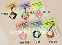 wholesale Korean style Romane cartoon design hellogeeks phone Dust plug Screen wipe Free Shipping