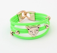 Free shipping Colorful new European and American fashion leopard head bracelet