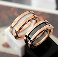 High Quality 3mm White / Black Ceramic Rose Gold Plated 316L Stainless Steel Rings Jewelry