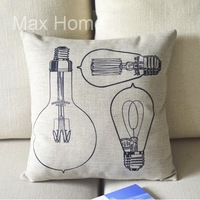 "Free Shipping 18"" Light Bulb Retro Vintage Style Linen Decorative Pillow Case Pillow Cover Cushion Cover"