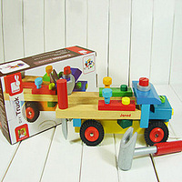 Janod nut disassembly project car disassembly tool cart wooden toy car