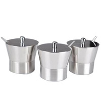 3piece-set stainless steel spice jar seasoning box sauce pot with spoon
