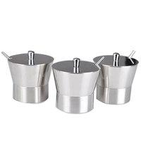 3piece-set stainless steel spice jar seasoning box sauce pot with spoon