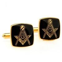 Black Masonic Cufflinks with Gold Setting